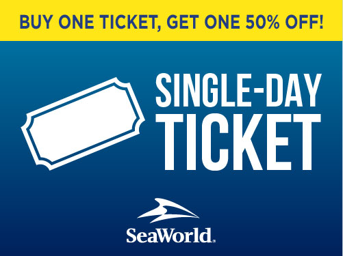 Buy one get one 50% off Single day ticket to SeaWorld Orlando