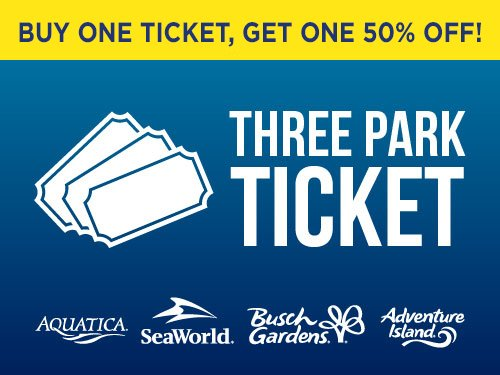 Buy one get one 50% off! Three Park Ticket
