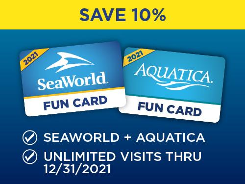SeaWorld and Aquatica Orlando Fun Card Save 10%