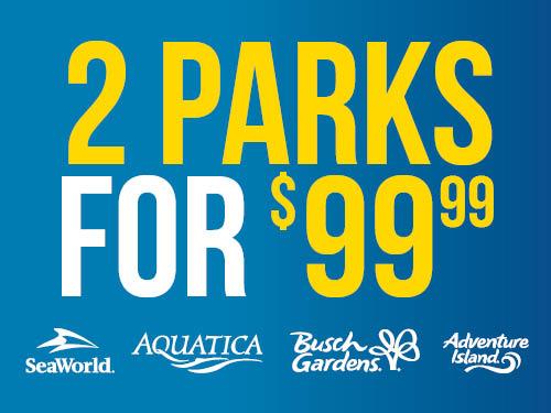 SeaWorld Orlando 2 Parks for $99.99