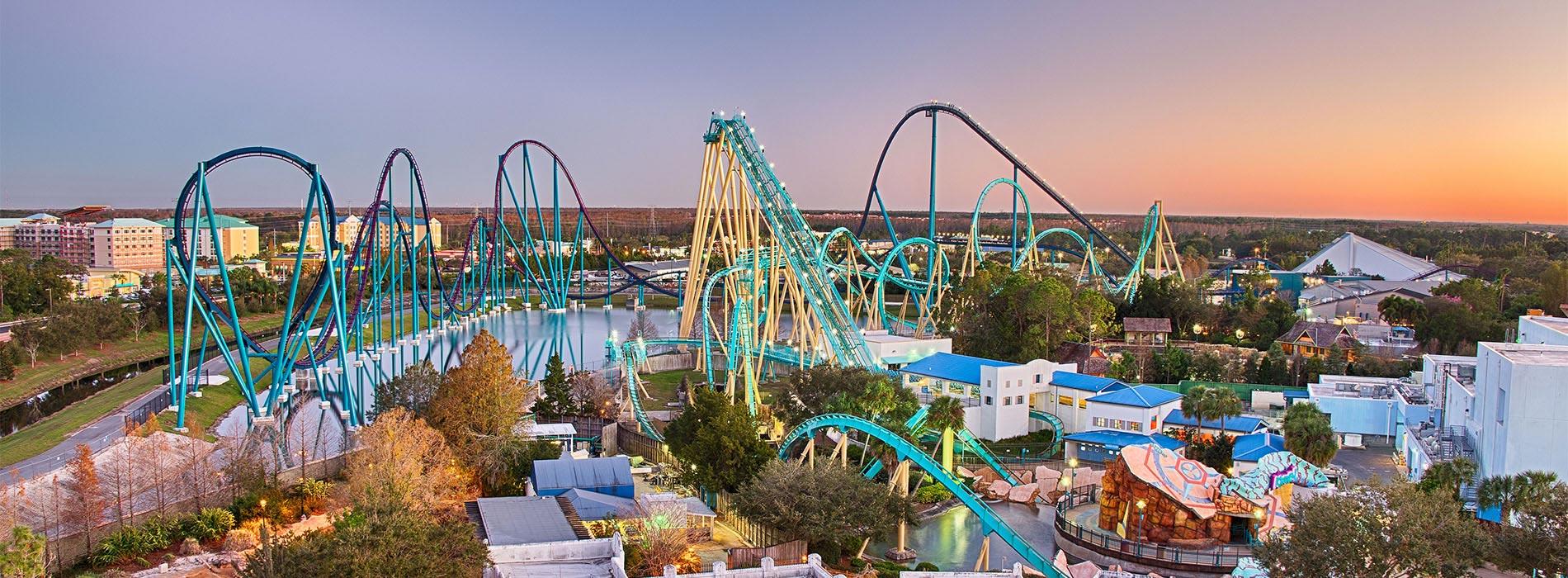 Aerial view of Mako and Kraken at SeaWorld Orlando