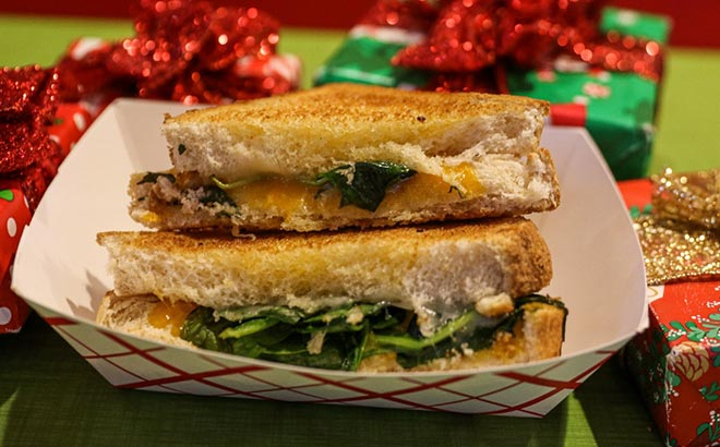 Spinach Grilled Cheese during A Very Furry Christmas at Sesame Place