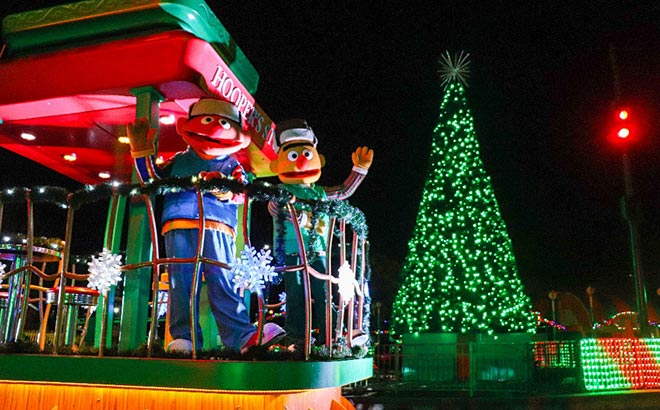 See Bert and Ernie during the Furry & Bright Christmas Drive-Thru at Sesame Place