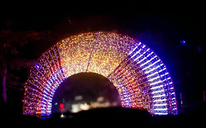 Drive under a festive-lighted arch during the Furry & Bright Christmas Drive-Thru at Sesame Place