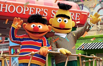Ernie and Bert on a float during the Sesame Place Neighborhood Party Parade