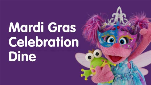 Mardi Gras Celebration Dine during Sesame Place Elmos Furry Fun Fest event