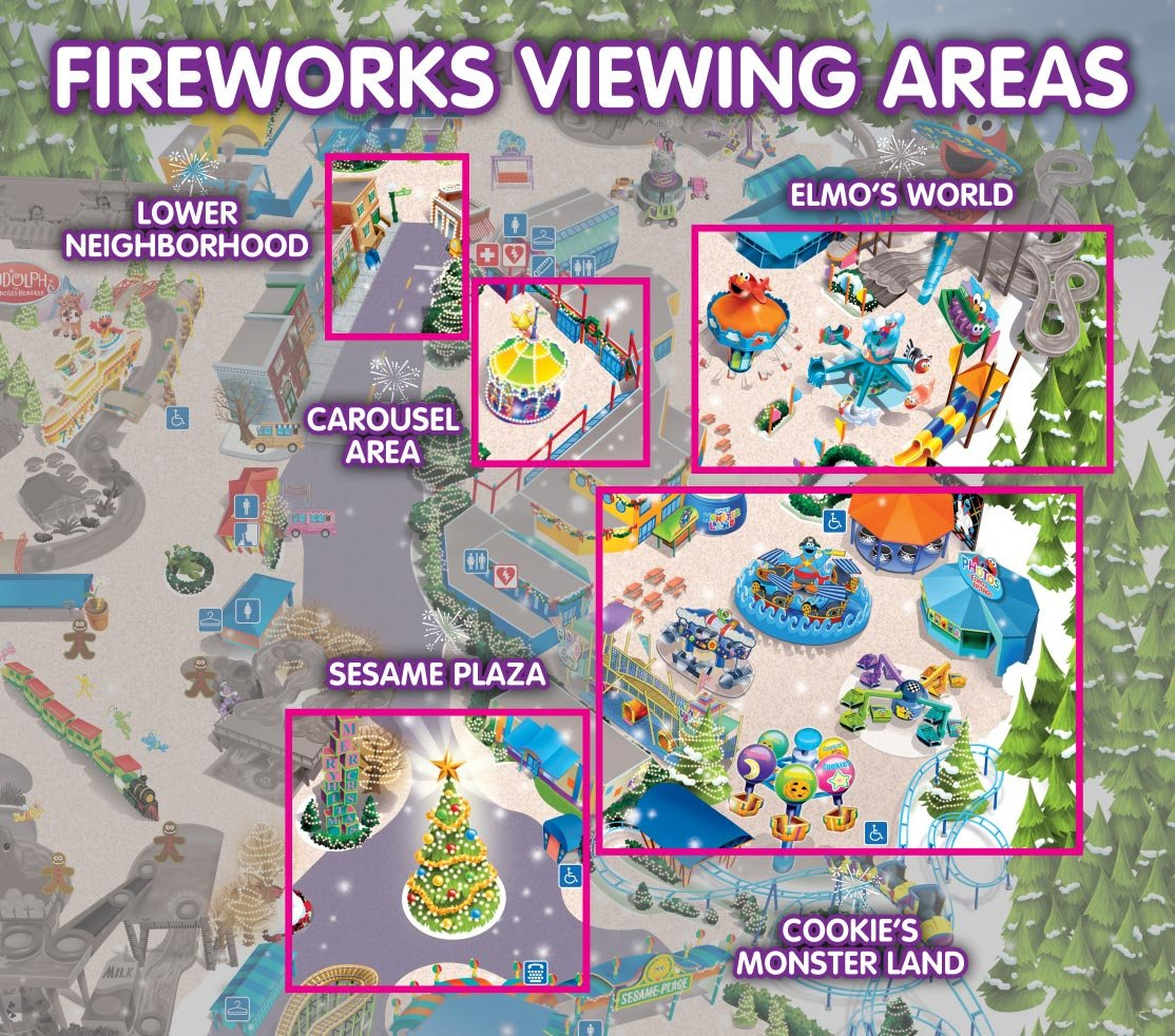 New Year's Even Fireworks Viewing around  Sesame Place Park Map