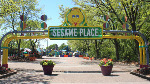 Entrance sign to Sesame Place