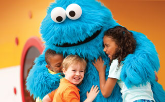 Cookie Monster with kids