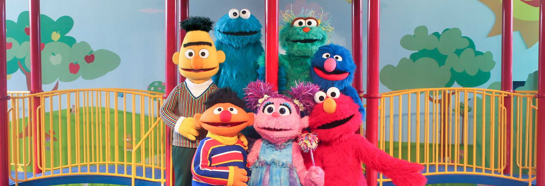 Bert, Ernie, Cookie Monster, Abby Cadabby, Rosita, Grover and Elmo in Let's Play Together - live on stage at Sesame Place theme park