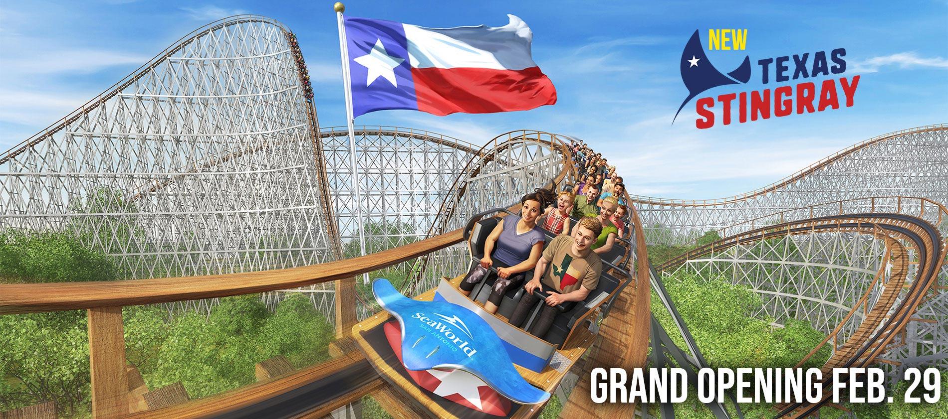 SeaWorld San Antonio Texas Stingray New Wooden Roller Coaster