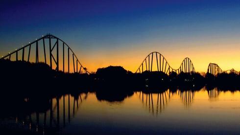 Steel Eel Rollercoaster during sunset