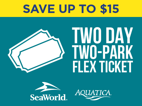 Save up to $15 with a two day two park flex ticket