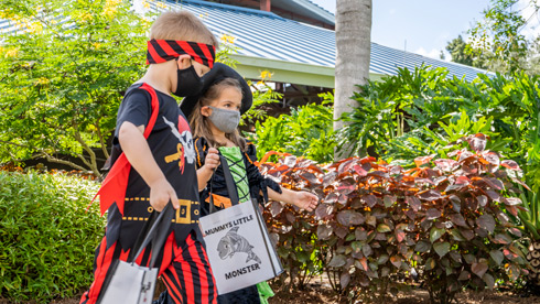 Kids at the Trick or Treat Trail