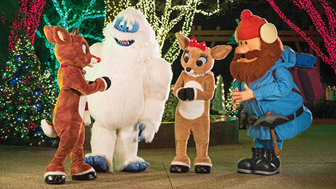 Rudolph and friends at Christmas Celebration SeaWorld San Diego