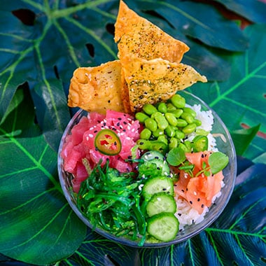 Spicy poke bowl at Seven Seas Food Festival at SeaWorld San Diego