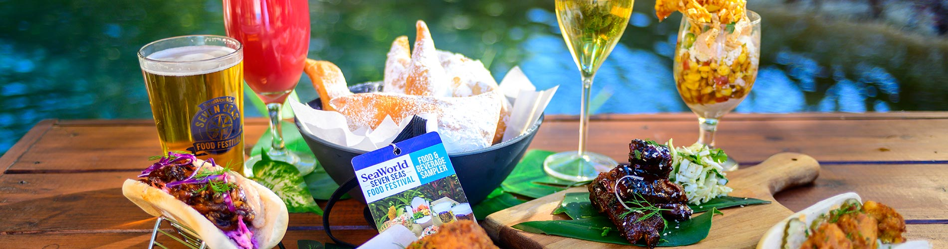 Food and beverage samples available during SeaWorld Seven Seas Craft Beer and Food Festival