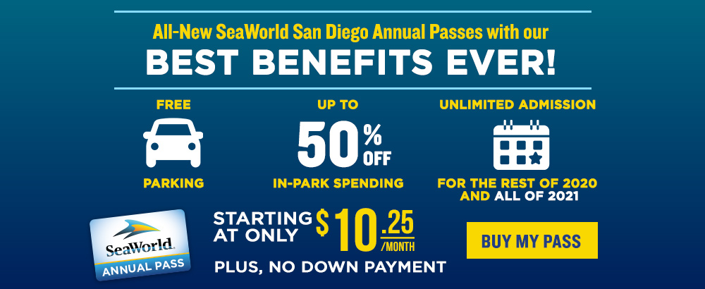All-New SeaWorld San Diego Annual Passes with our Best Benefits Ever! Starting at only $9.00/month.