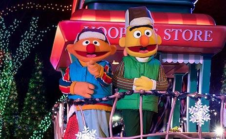 Bert and Ernie at SeaWorld San Diego Christmas Celebration
