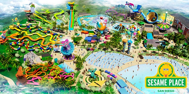 Aerial Illustration of Sesame Place San Diego