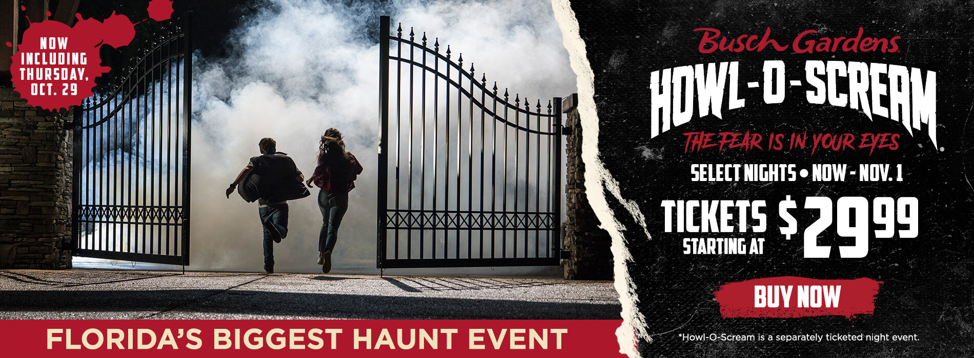 Thursday 29 added to Howl o Scream!