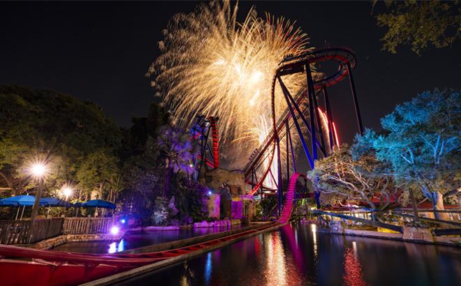 Fireworks over SheiKra