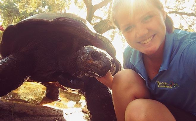 Kayla and Bubba the Tortoise
