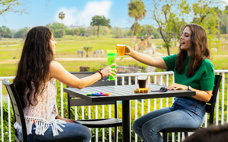 Guesting enjoying drinks from the giraffe bar