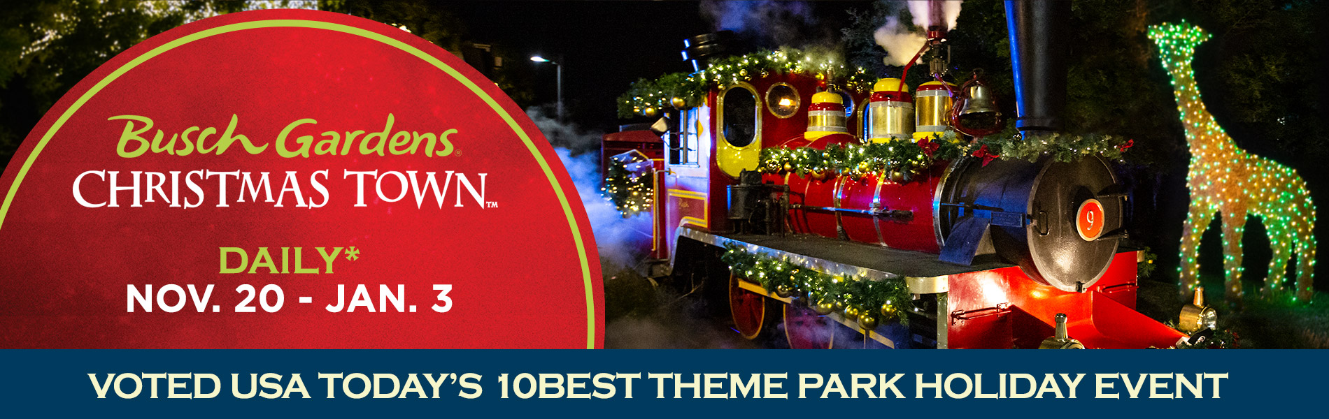 Busch Gardens Christmas Town - Voted USA Today's 10BEST Theme Park Holiday Event