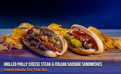 Grilled Philly Cheese Steak & Italian Sausage Sandwiches