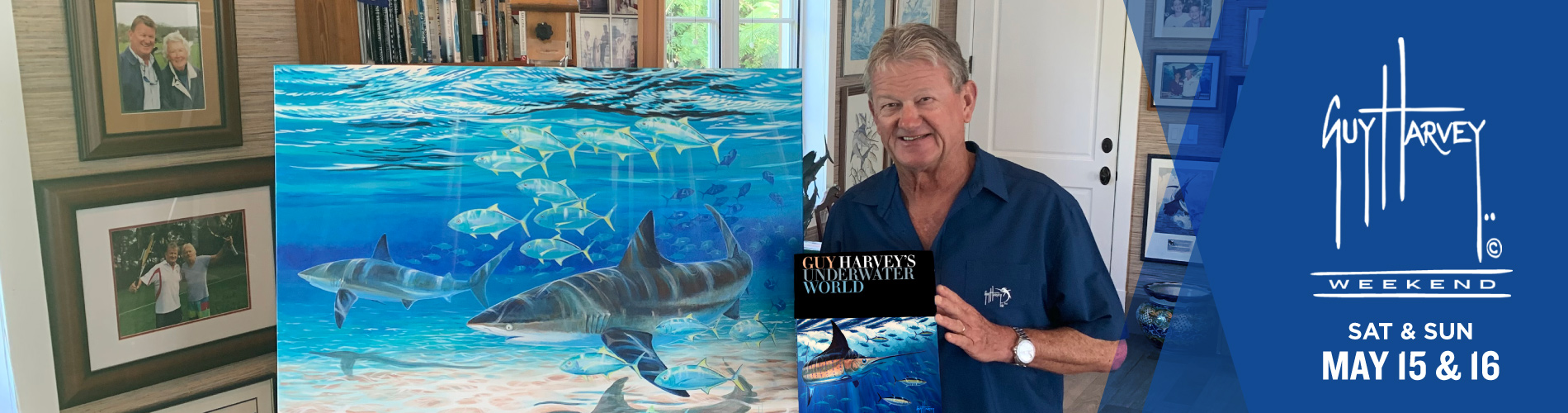Guy Harvey with his new book and one of his recent paintings.
