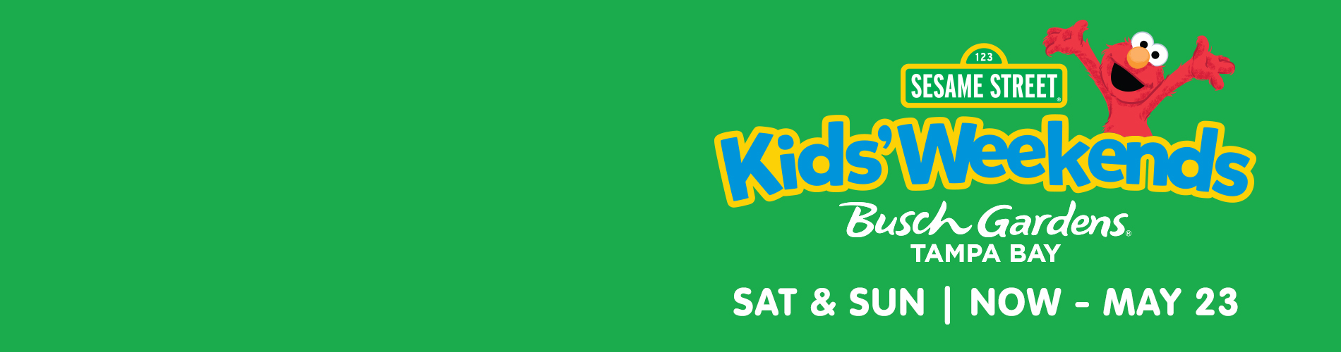 Sesame Street Kids' Weekends happening every Saturday & Sunday, May 1 - 23