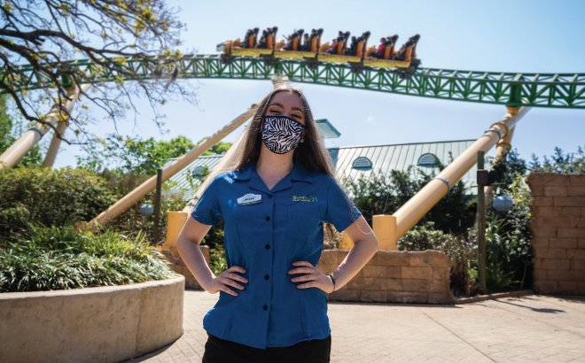 Busch Gardens Employee in front of Cheetah Hunt