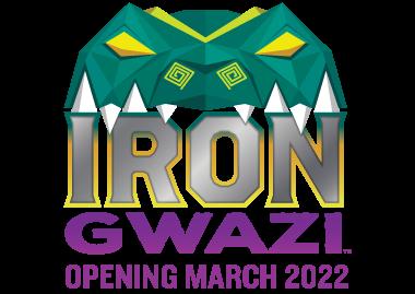 Iron Gwazi Logo with March 2022 opening date