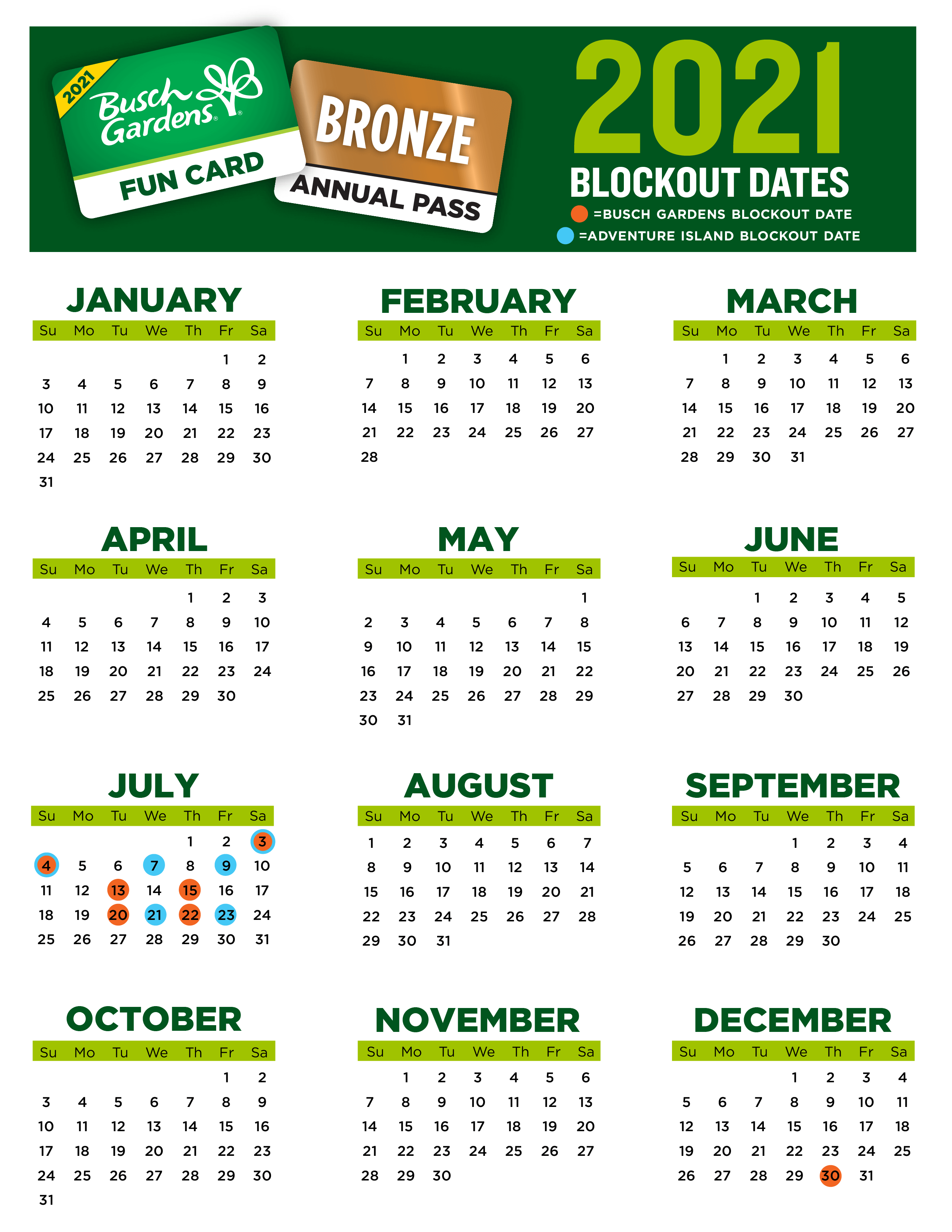 bgt  2021 blockout date calendarbronze  fc - How To Check If Your Busch Gardens Pass Is Expired