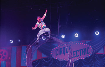 Cirque Electric Performers presenting a stunt