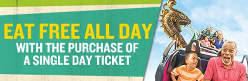 Eat Free! Play & dine all day with one convenient ticket at Busch Gardens Tampa Bay.