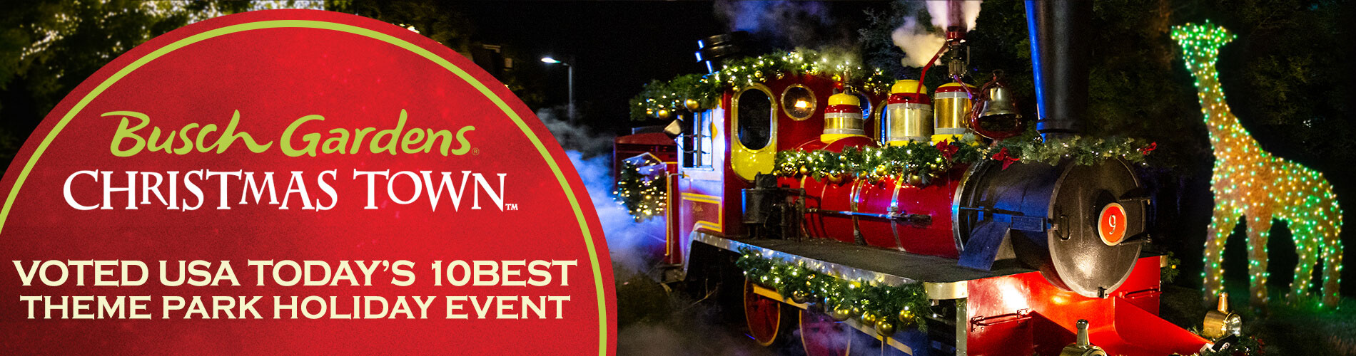 Busch Gardens Tampa Bay Christmas Town, a USA Today's 10Best Theme Park Holiday Event.