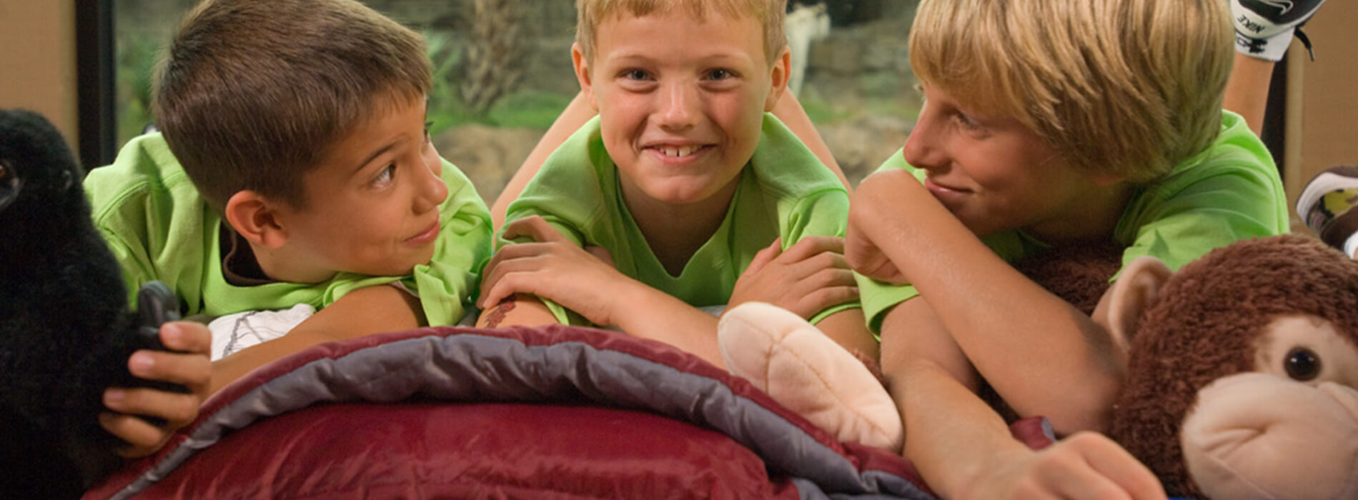 Three young boys in green shirts enjoy themselves while at overnight camp at Busch Gardens Tampa Bay, located in Florida