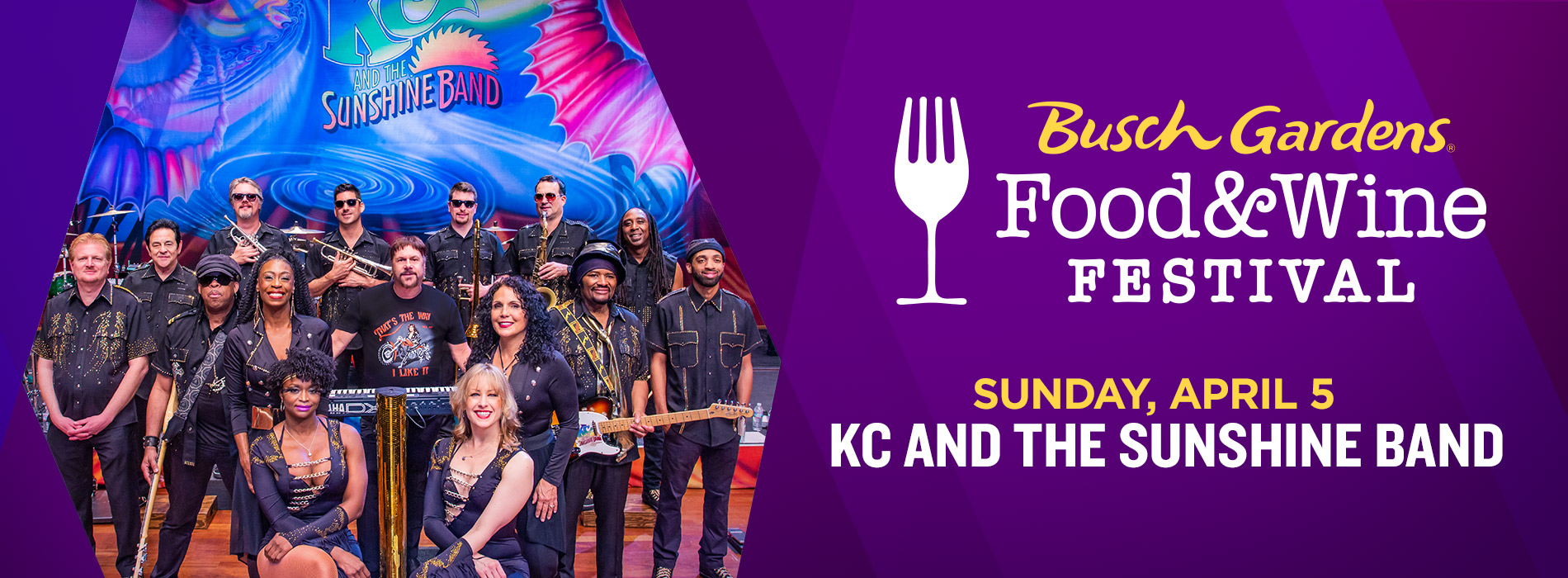 KC and the Sunshine Band at Busch Gardens Tampa Bay on Sunday, April 5 for the Food and Wine Festival