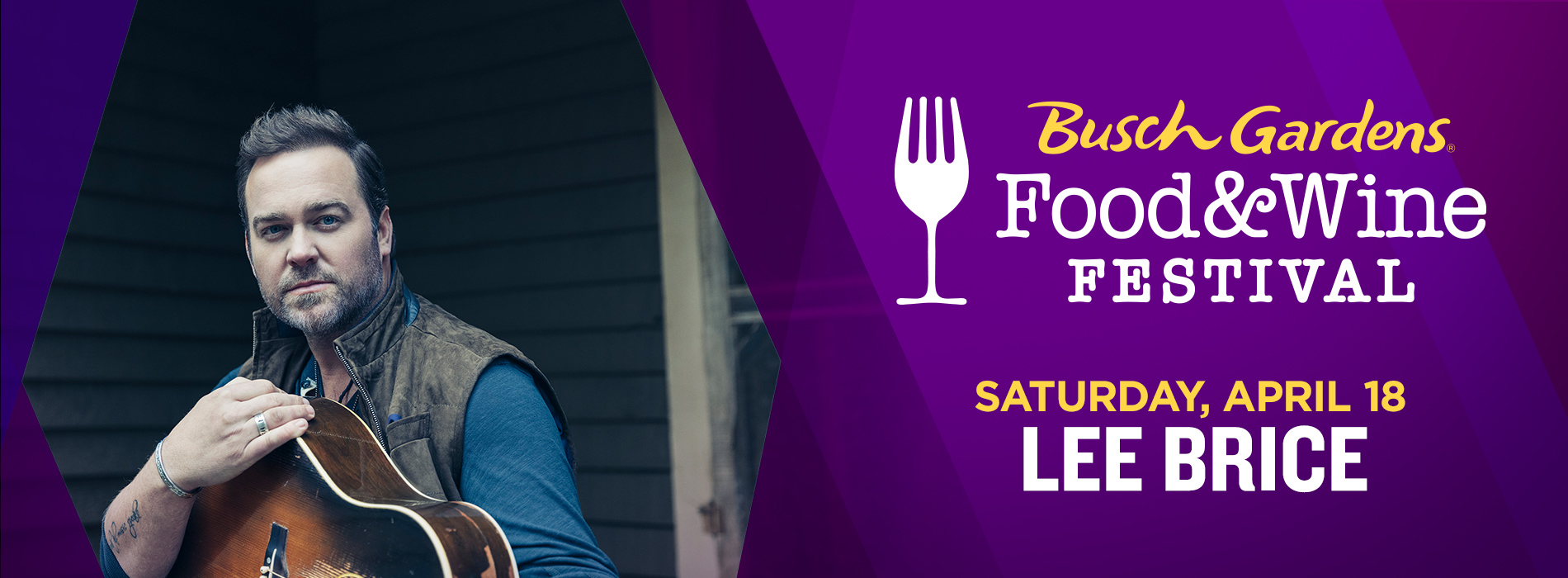 Lee Brice at Busch Gardens Tampa Bay on Saturday, April 18 for the Food and Wine Festival