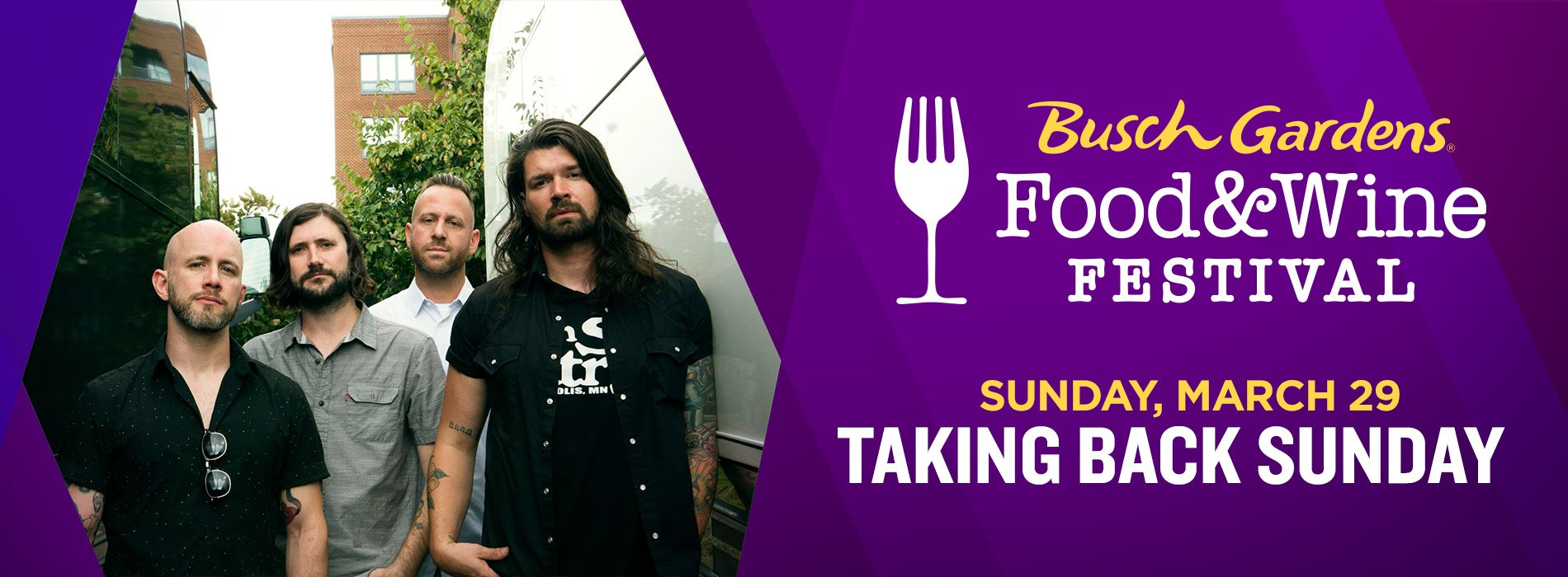 Taking Back Sunday at Busch Gardens Tampa Bay on Sunday, March 29 for the Food and Wine Festival