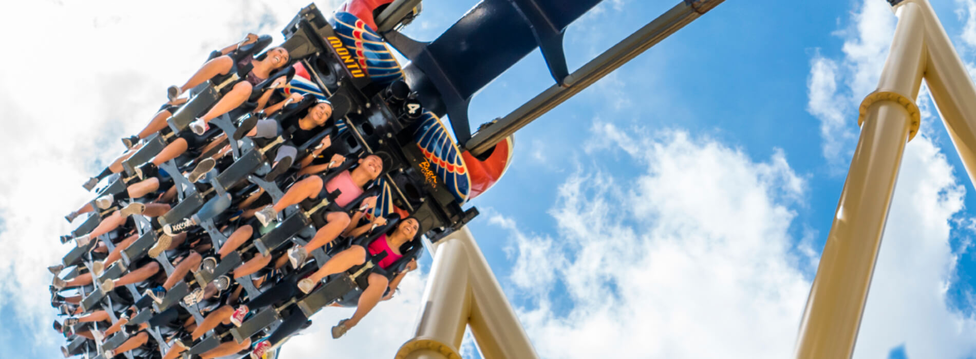 A group of riders enjoy an inverted roller coaster called Montu at Busch Gardens Tampa Bay, located in Florida