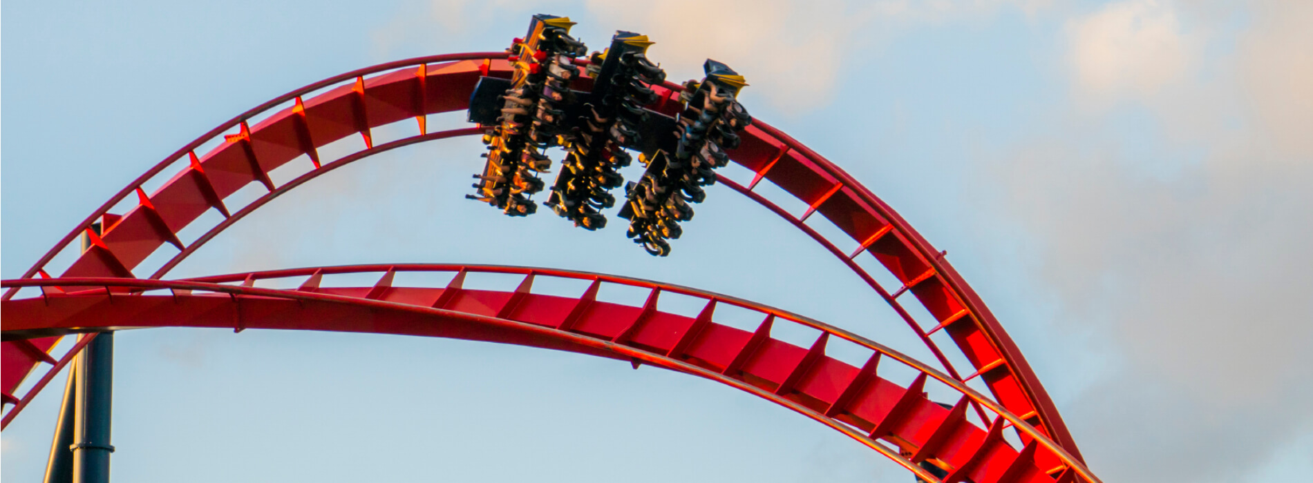 A group of people upside down as they ride through a loop on an intense red roller coaster called SheiKra at Busch Gardens Tampa Bay, located in Florida
