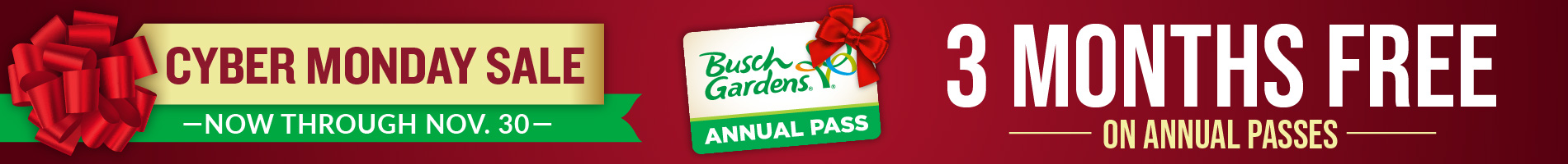 Cyber Monday 3 Months Free on Annual Passes