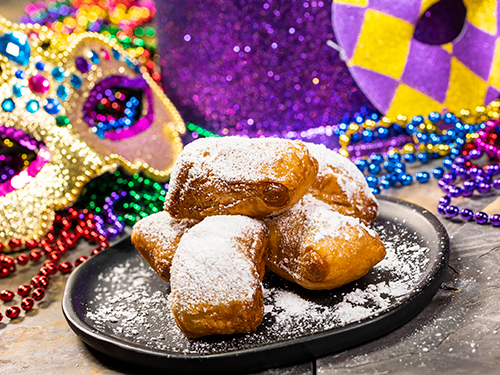 Beignets at Mardi Gras