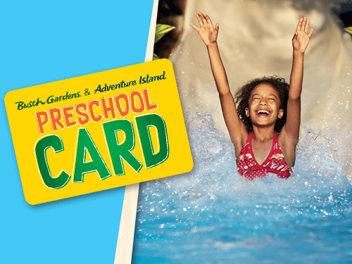 Children 5 and under can get a FREE 2019 Preschool Card to Busch Gardens Tampa Bay and Adventure Island