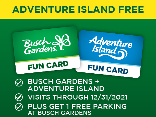 Adventure Island Free. Plus Get 1 Free Parking at Busch Gardens