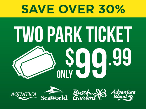 Save over 30% on a two-park ticket! $99.99