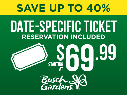 Save up to 40% on date specific ticket. Starting at $69.99